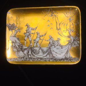 Fornasetti Vtg Gold Trinket Tray Dish - Italy